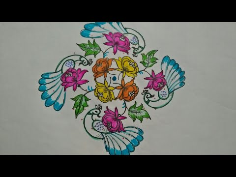 Simple...beautiful flowers and peacocks...13 to 3 straight dots