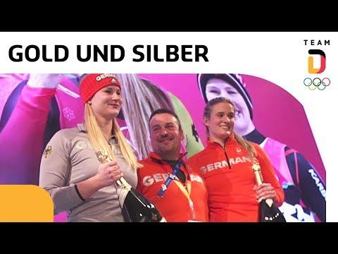 Natalie Geisenberger & Dajana Eitberger feiern Medaillen | Team Deutschland | PyeongChang 2018