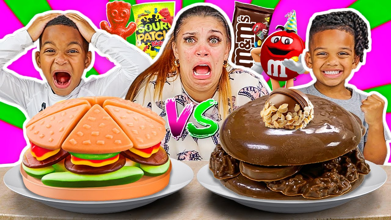 CANDY VS CHOCOLATE FOOD CHALLENGE WITH THE PRINCE FAMILY