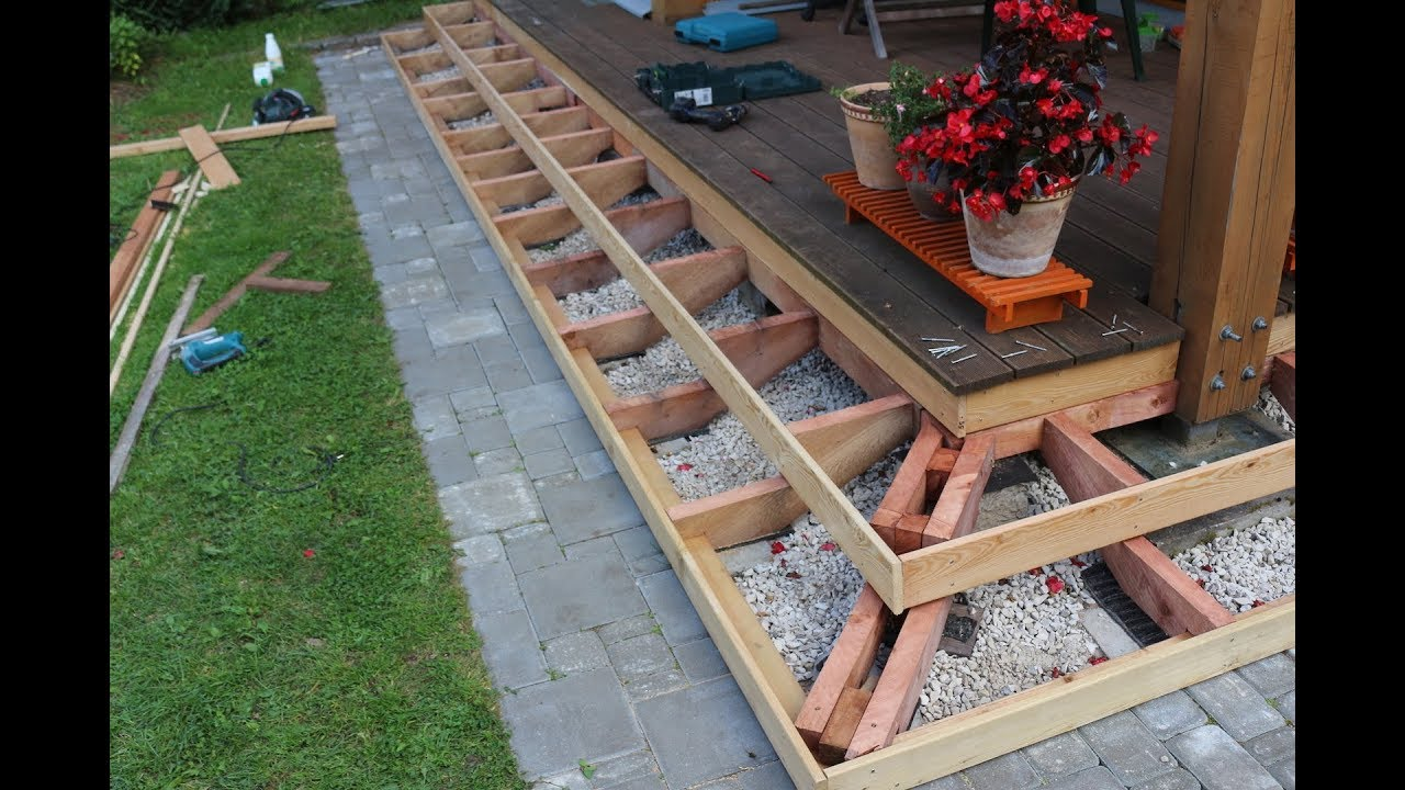 How To Build Deck Stairs Part 3 Youtube   Making Steps For Decking