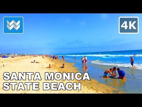 Santa Monica Beach in California USA  - Relaxing Virtual Treadmill Walk 🎧 3D Binaural Audio 【4K】