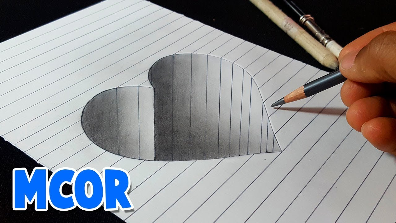 Como Dibujar Un Corazón En Hueco 3d Paso A Paso Youtube