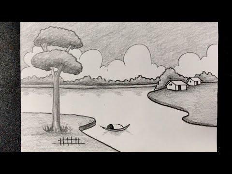 Hướng dẫn vẽ tranh phong cảnh bằng bút chì đẹp và đơn giản | how to draw scenery with pencil