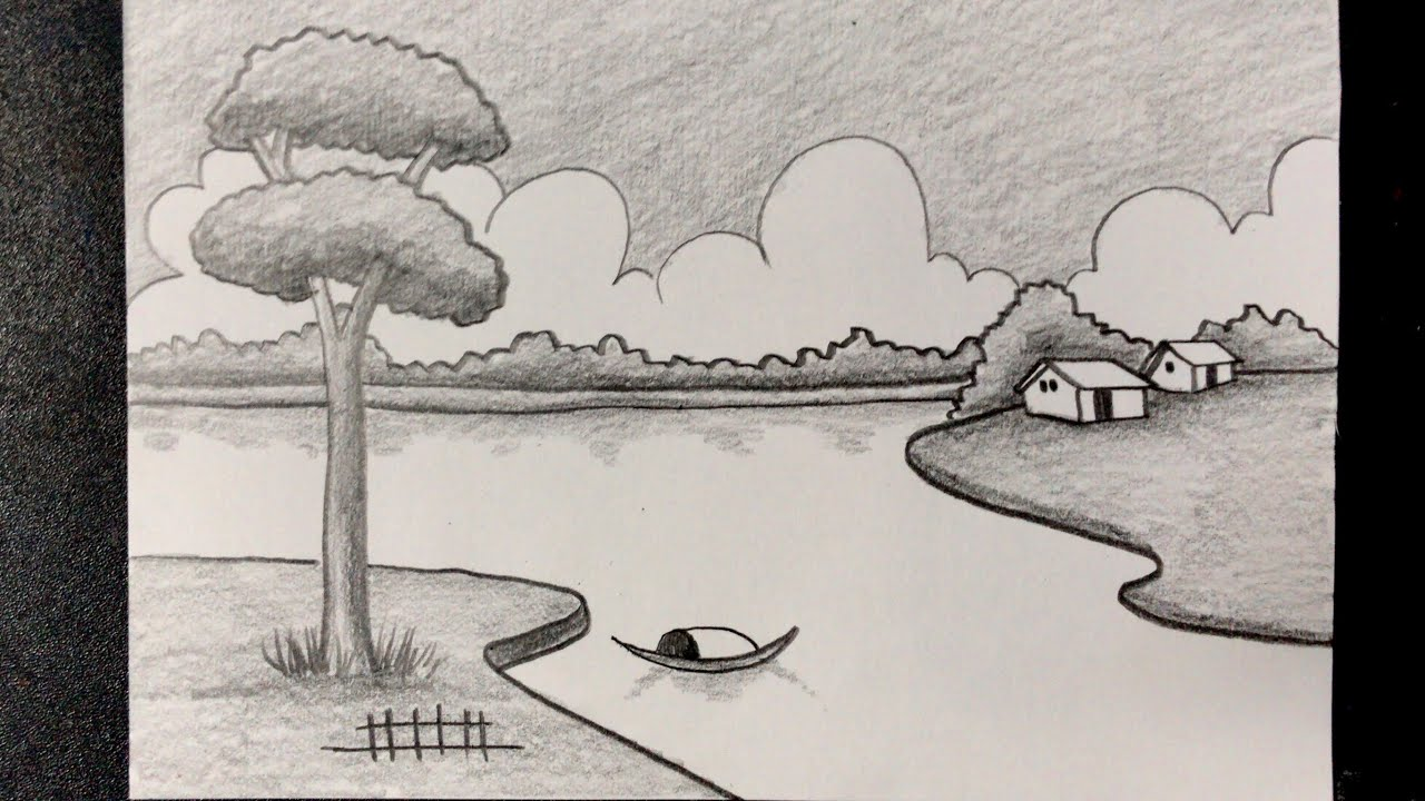 Hướng dẫn vẽ tranh phong cảnh bằng bút chì đẹp và đơn giản   how to draw scenery with pencil   Tổng hợp các nội dung liên quan đến vẽ tranh phong cảnh quê hương lớp 7 chi tiết nhất