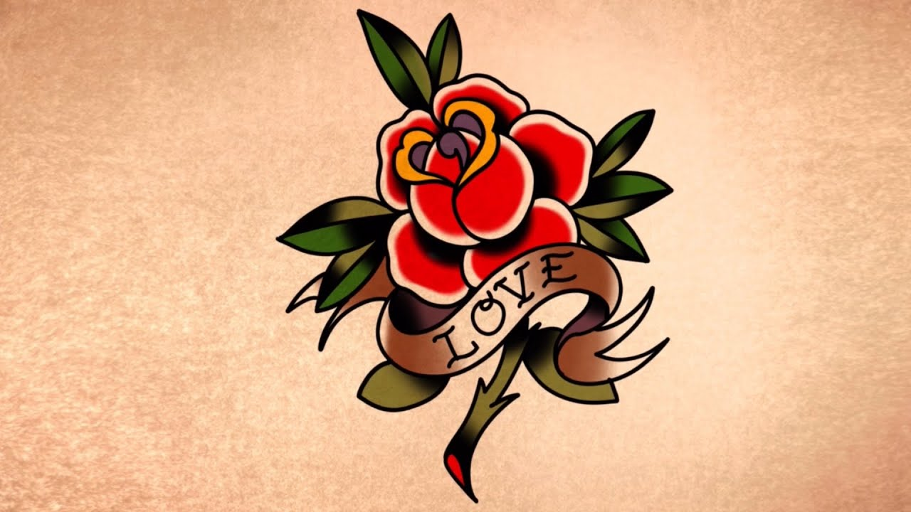 How To Draw A Traditional Rose And Banner Tattoo Youtube