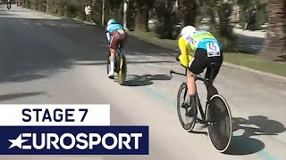 Stage 7 Tirreno-Adriatico | Stage Winner + Overall Leader Cross the Line | Eurosport