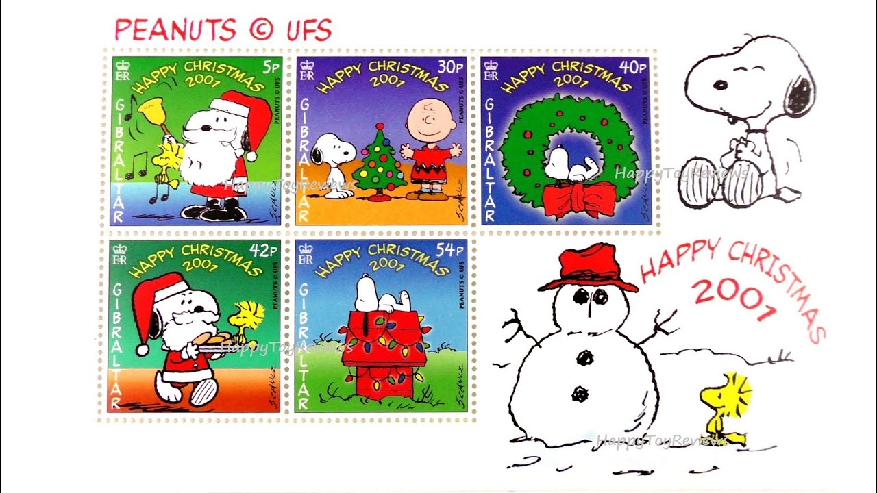 PEANUTS SNOOPY STAMPS ROYAL GIBRALTAR POST OFFICE COMPLETE SET 5 ...