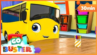 Back to School With Daddy | Go Buster! | Bus Cartoons for Kids! | Funny Videos & Songs