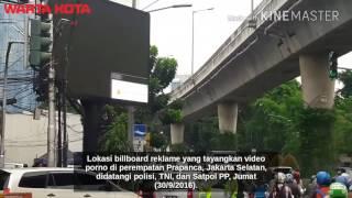 Lokasi Billboard Yang Tayangkan Video Porno Didatangi Polisi, TNI, Sampai Satpol PP
