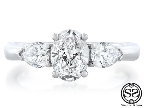 Three Stone Oval Amp Pear Shaped Diamond Engagement Ring