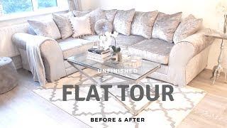 MY FIRST FLAT/APARTMENT TOUR | Before & Afters, & Designing my apartment on a budget | JV HOME