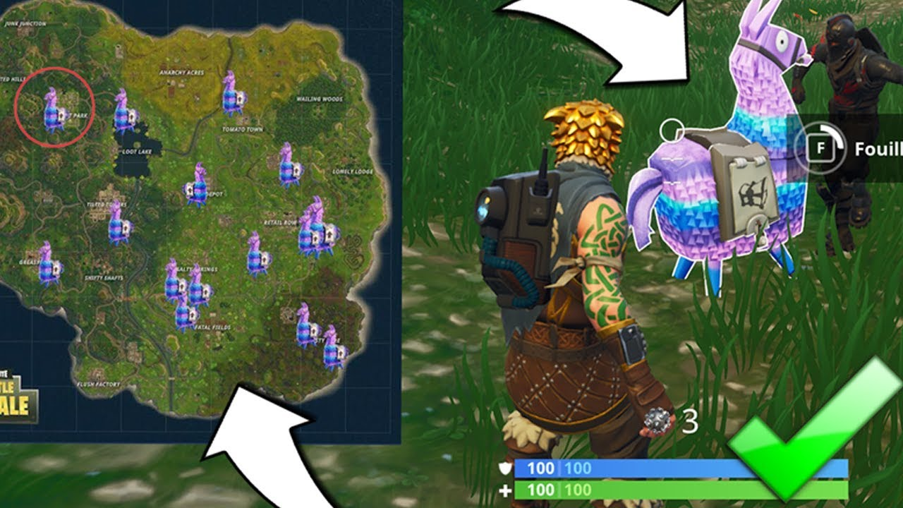 emplacement des lamas sur fortnite grace a cette carte ou les trouver youtube. Black Bedroom Furniture Sets. Home Design Ideas