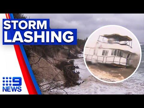 Byron Bay unrecognisable following wild weather lashing | 9 News Australia
