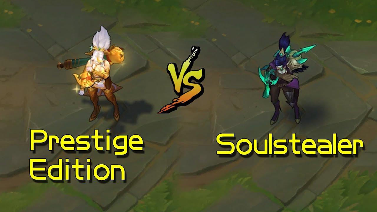 Firecracker Vayne Prestige Edition vs Soulstealer Vayne Skin Comparison  (League of Legends)