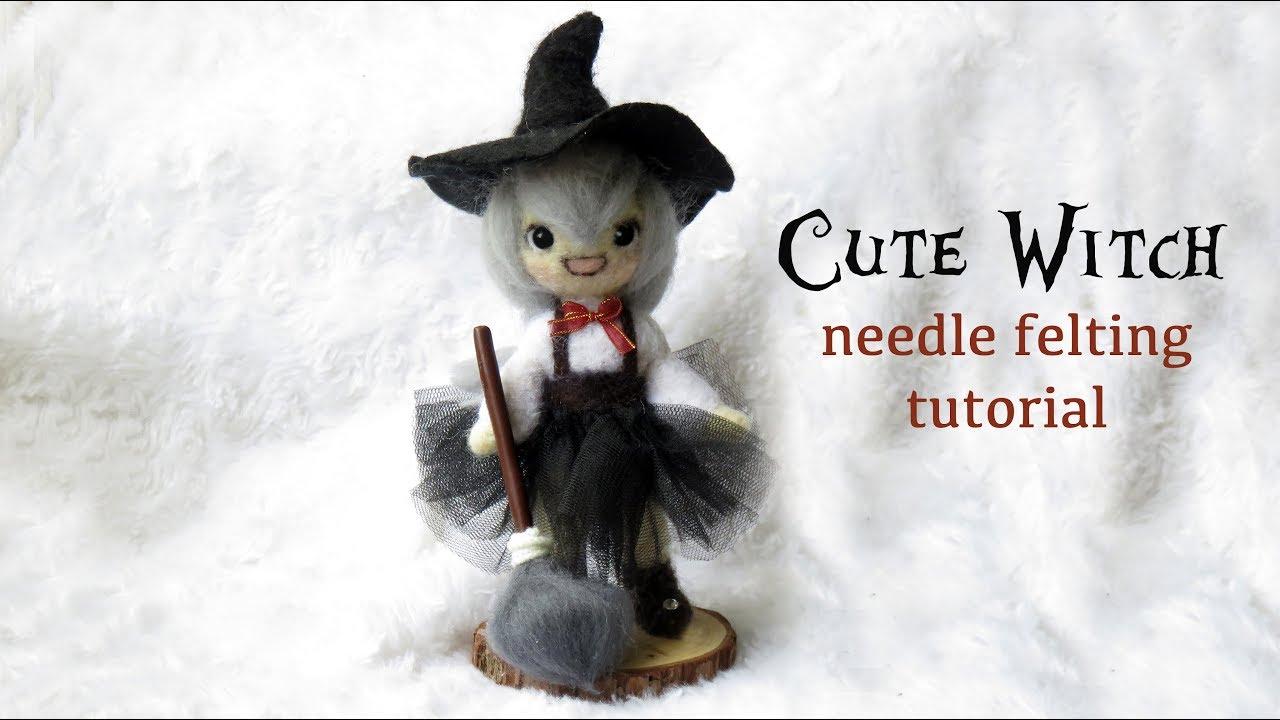 Cute Witch Needle Felting Tutorial - HALLOWEEN - YouTube