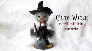 Cute Witch Needle Felting Tutorial - HALLOWEEN