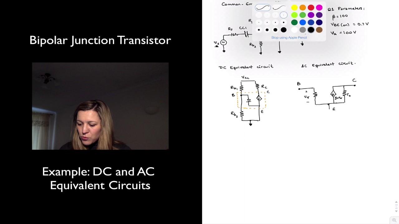 Bjt Example Dc And Ac Equivalent Circuits Youtube Pushpull Darlington Amplifier Circuit Diagram Tradeoficcom