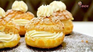 脆皮泡芙 (升级版食谱) How to Make Crispy Cream Puffs/ Choux Au Craqueline Pastry Recipe