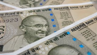 Closeup shot of revolving Indian 500 rupee notes