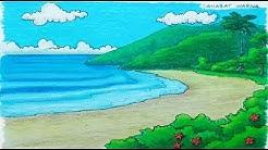 Cara Menggambar Dan Mewarnai Pemandangan Laut Dan Pantai Yang Indah