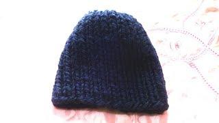 Женская шапка из толстой пряжи. Вязание спицами номер 10
