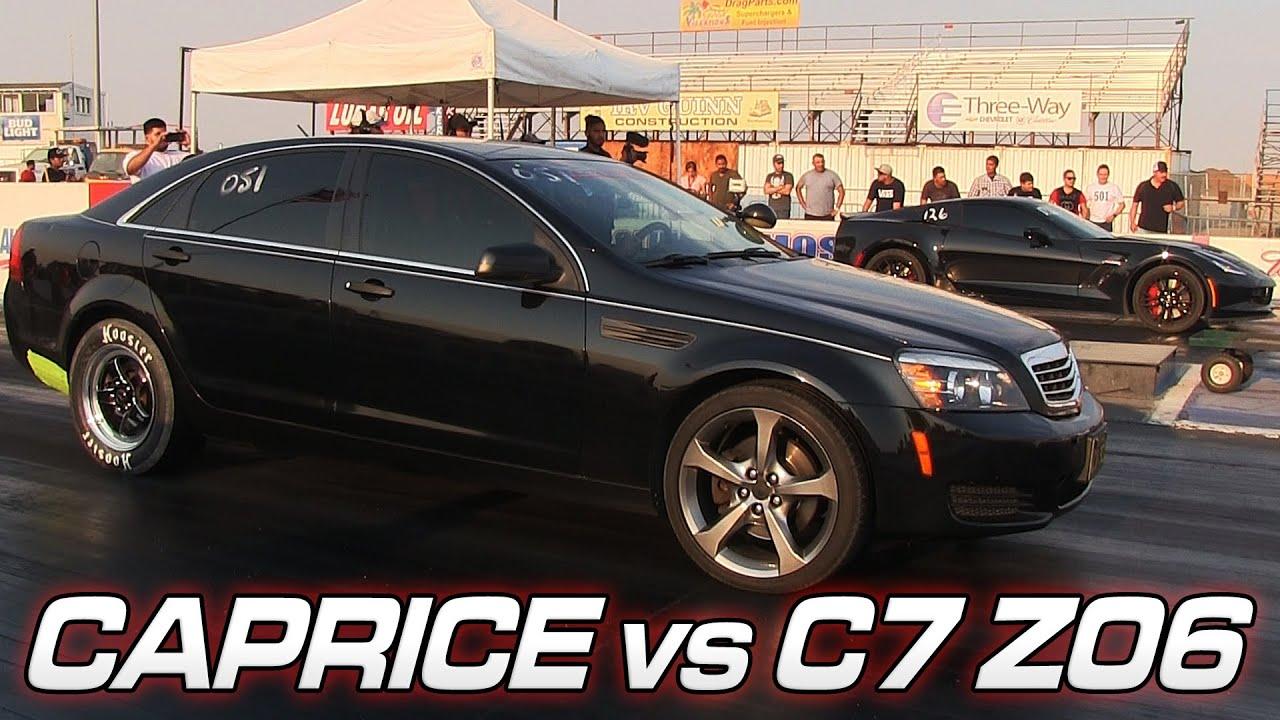 Chevy Caprice vs C7 Z06 Corvette - YouTube