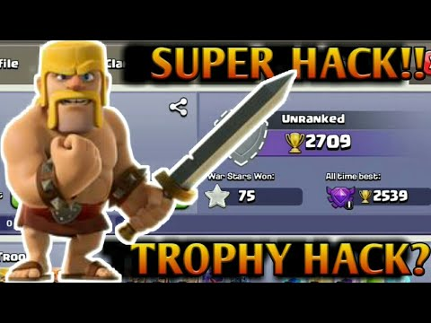 BEST TROPHY HACK!!!! OMG! HACKER IS PLAYING COC!!!