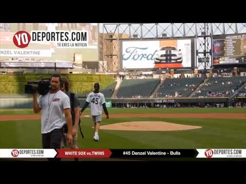 dcc1bf364b27 Chicago Bulls Denzel Valentine throw a first pitch at Chicago White sox -  YouTube