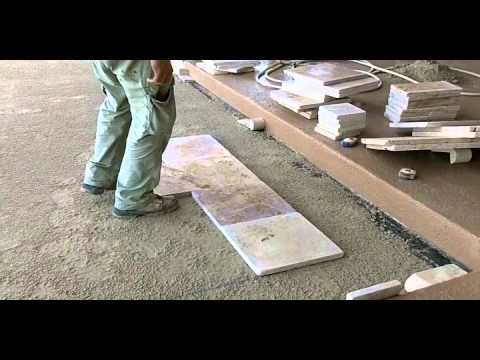 Travertine Paver Pool Deck Installation Part 1 Youtube