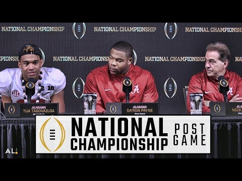 Hear what Nick Saban, Tua Tagovailoa, & Da'Ron Payne said following Alabama's epic win over Georgia