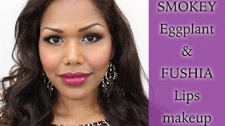 Classy Smokey eggplant and fuchsia lips makeup tutorial Thumbnail