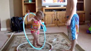 Emily doing the Hula Hoop Stomp with brother Logan