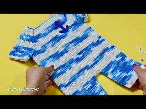 Baby v cuello Mono//Todo en Uno Con Bolsillo 3-12 mths Tejer patrón