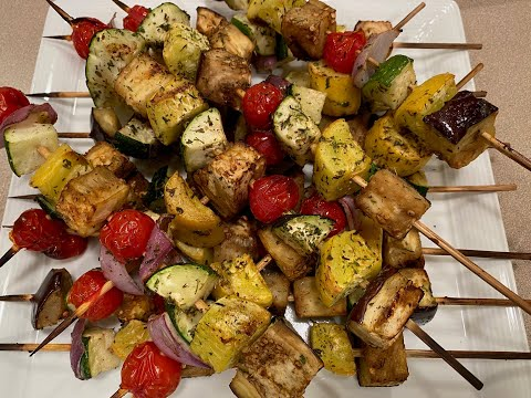 Grilled Vegetable Brochettes With Chilled Couscous Salad \u0026 Mint Gremolata