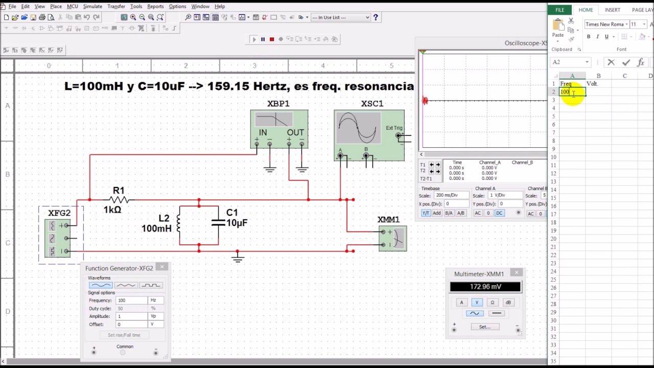 Circuito Lc : Simulación de un circuito tanque resonante lc tank