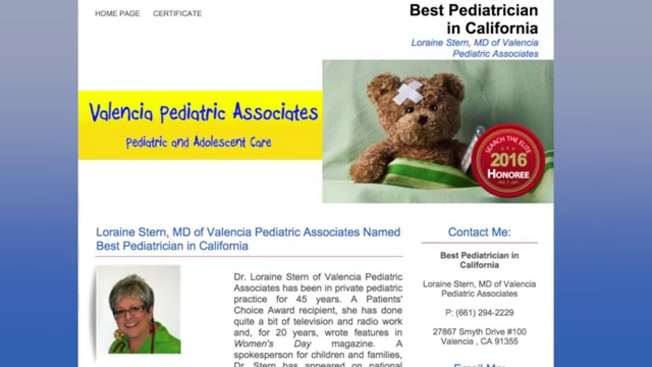 Loraine Stern, MD of Valencia Pediatric Associates Named Best Pediatrician  in California