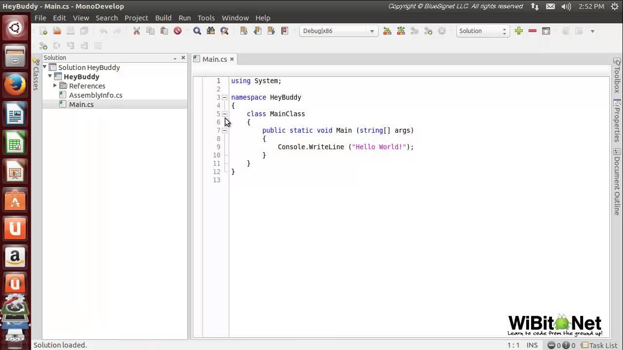 WiBit Net Programming in C# - Introduction - Lab 3 MonoDevelop Linux 2