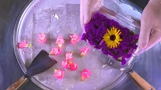 Colorful Flower Ice Cream Rolls | spring colors fried Ice Cream with edible Flowers | Food ASMR