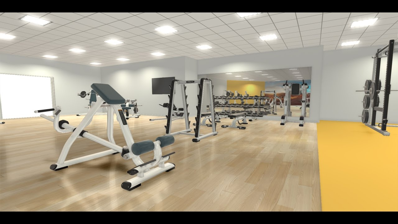 Real time 3d scene created with ecdesign floor plan for Gym floor plan design software free