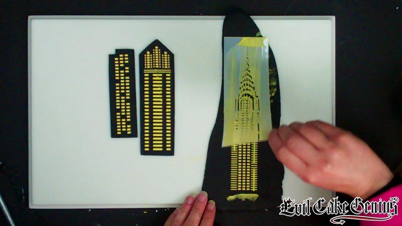 Free skyscraper windows cake stencil set