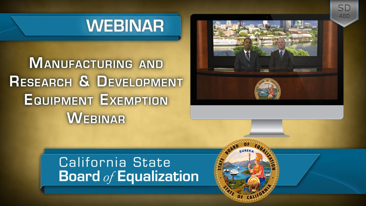 Manufacturing and Research & Development Equipment Exemption