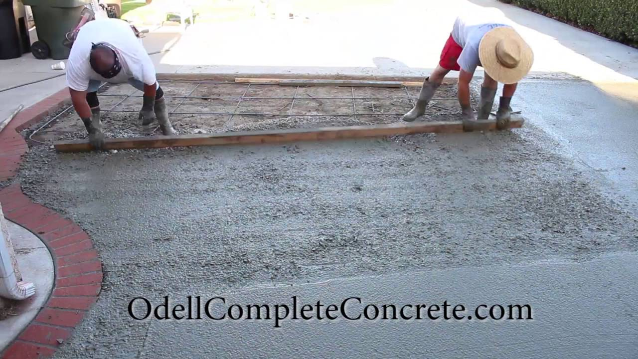 How to pour a concrete patio with a brick ribbon pattern for What temperature to pour concrete outside