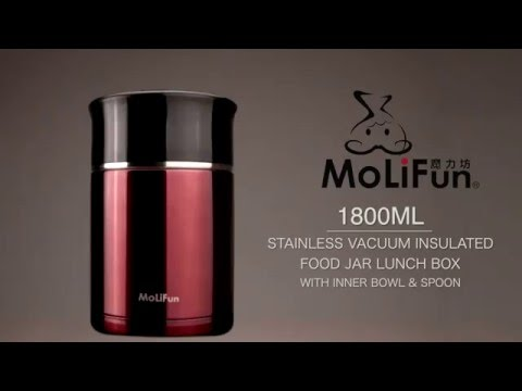 MoLiFun stainless vacuum insulated food jar lunch box with inner bowl & spoon 1800ml