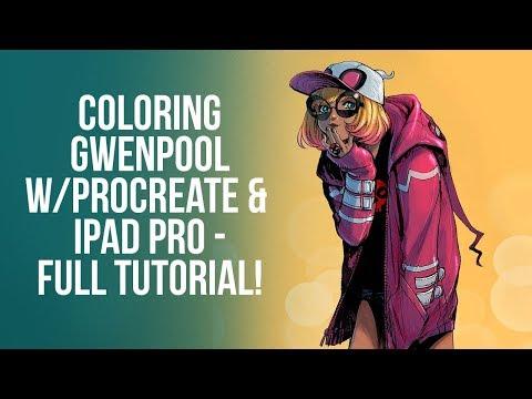 MASSIVE Procreate 4 tutorial - coloring line art - comic book coloring