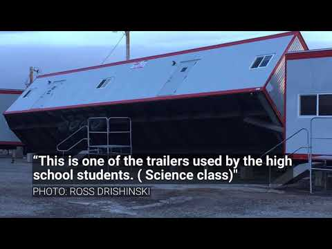 Winds topple school trailer in Heart Butte