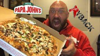 Papa Johns XL Large Pizza Cheat Meal Food Review Smackdown Mukbang - Ryback Feeding Time