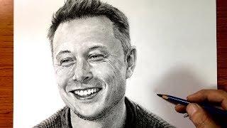 【鉛筆画】イーロン・マスク(Drawing a Elon Musk with a pencil.)