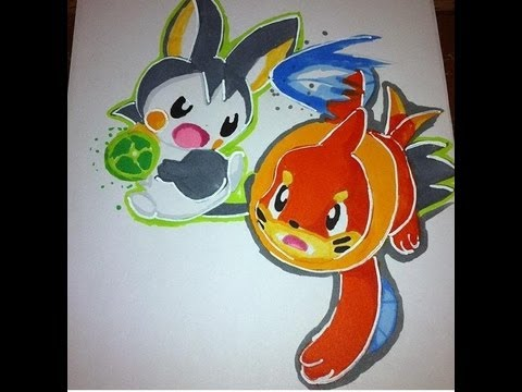 Copic Marker Speed Coloring Pokemon Emolga And Buizel