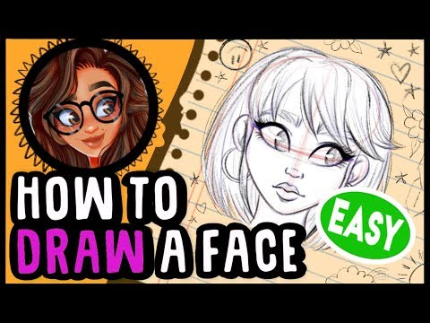 🖤HOW TO DRAW or SKETCH a HEAD and FACE 🖤CARTOON STYLE *Tutorial* STEP BY STEP thumbnail