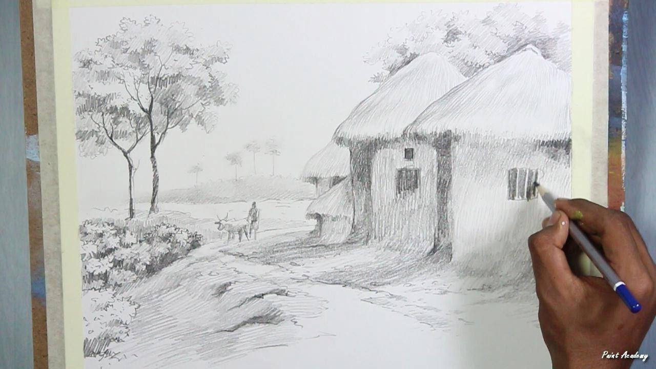 Pencil drawing techniques village landscape drawing step by step paint academy